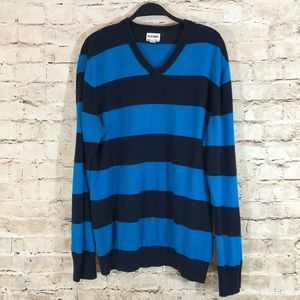 men's blue striped old navy sweater large